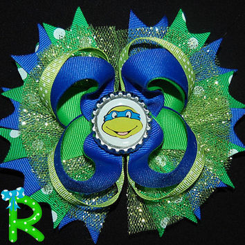 Ninja turtles layered Hair Bow, Leonardo boutique bow,TMNT Staked Hair Bow ,Purple Ninja