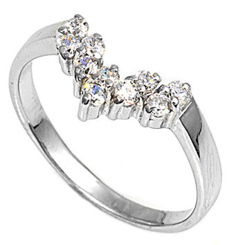 925 Sterling Silver CZ Tiara Ring 12MM