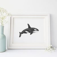 Watercolor Orca Whale Wall Art Print