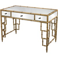 Mirror Top Desk 3 Drawers Bamboo Frame Gold Leaf