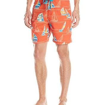 Reyn Spooner Men's Paradise Cup Sailboats 7-Inch Boardshorts