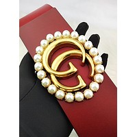 GUCCI chic ladies casual pearl gold buckle hot selling large belt Red