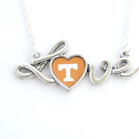 Tennessee Volunteers NCAA Love Script Silver Necklace