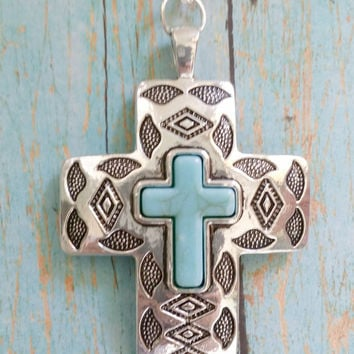 Turquoise Cross Necklace / Pewter Cross Jewelry / Cowgirl Chic Necklace / Native American / Howlite Cross