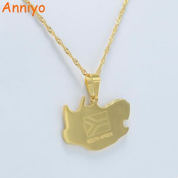 Anniyo South Africa map pendant necklaces jewellery gold color,Africa countries maps south africans map #001921