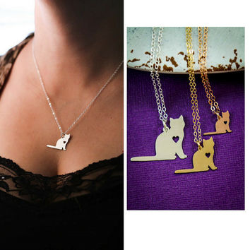 Cat Necklace - Kitty Necklace - Kitten Charm Necklace - Silver Cat Jewelry - Cat Lover Gift -Cat Memorial Gift - Personalize Pet Name