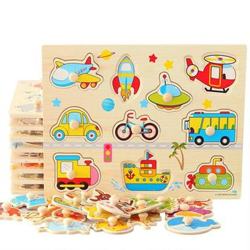 3D Wooden jigsaw puzzle for toddler children kid hand grasp wooden puzzle numbers alphabet-puzzle developmental educational toy