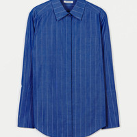 Protagonist — Shirt 01 Medium Body Dress Shirt Blue Stripe — THE LINE