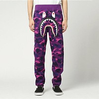 BAPE AAPE Classic Popular Men Women Casual Camouflage Sport Pants Trousers Sweatpants Purple