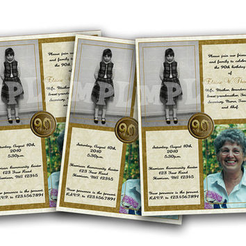 Vertical Gold Then and Now Adult Birthday Invitations - Photo Milestone Birthday Invites Invitation for Woman Golden Adult Photo Invite Man