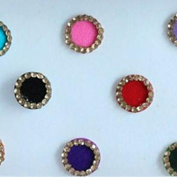Multicolor Bright Wedding Round Bindis,Round Bindis,Velvet Colorful Bindis,Colorful Face Jewels,Bollywood Bindis,Self Adhesive Stickers