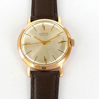 VOSTOK mens civil watch 60s. Gold plated slim Soviet Russian watch for men. Rare vintage Men's Watch. Luxury gents dress watch. Gift for him