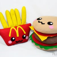 Burger and fries kawaii plushies