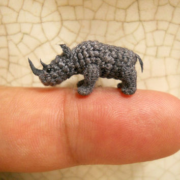 Rhino - Micro Crochet Stuffed Tiny Animal - Made To Order