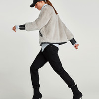 BOMBER JACKET WITH CONTRASTING TEXTURE