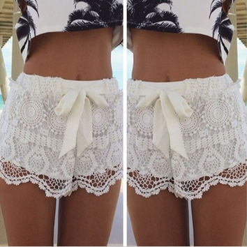 New Fashion Women Mid Waisted Lace Chiffon Crochet Floral Bowknot Short Shorts Pants(Green,White,Black,S-XXL) = 1945872516