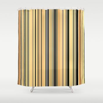 HIGH SOCIETY VINTAGE BEACH STRIPES 001 Shower Curtain by Corbin Henry
