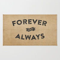 Burlap Forever And Always  Area & Throw Rug by Marcee Duggar