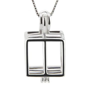 925 Sterling Silver Square Box Shaped Pearl Cage Pendant