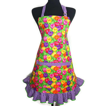 Multicolor Tulip Apron for women with Purple and White Polka Dot Ruffle , Retro Kitchen Decor