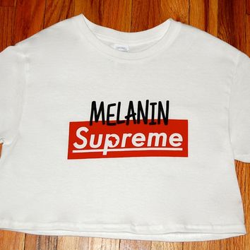 MELANIN SUPREME Women's Crop Top Tee