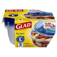 Glad Big Bowl Food Storage Containers 48 oz 3 ct