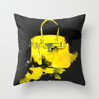 Yellow Bag - Fashion Illustration - Watercolor  Throw Pillow by Koma Art