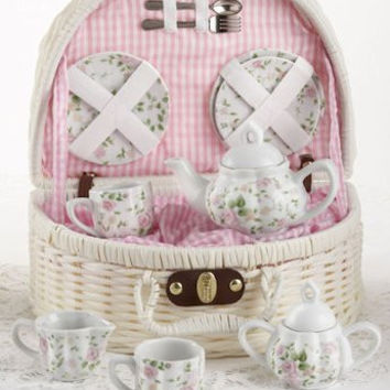 Children Porcelain Tea Set in  Rounded Wicker Style Basket - Pink Chintz