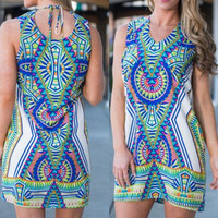 Hot Sale Print Sleeveless Mini One Piece Dress [4970283652]