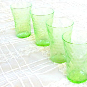On Sale Green Depression Glass Crystal Cordial Glasses, Set of 4, Bar Ware, Shot Glasses, Hollywood Regency