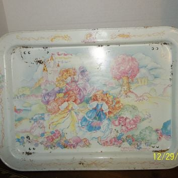 vintage 1987 lady lovely locks and the pixietials metal lap food tv tray