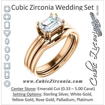 CZ Wedding Set, featuring The Marnie engagement ring (Customizable Emerald Cut Solitaire with Grooved Band)
