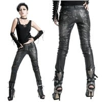 Metallic Black Studded PU Leather Slim Fit Cyber Punk Fashion Pants SKU-11404085