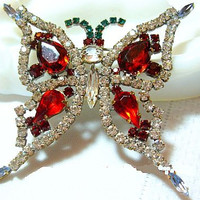 "Czech Butterfly Brooch Pin Red Green Clear Rhinestones Silver Plated Metal HUGE 3"" Vintage"