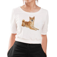 Girl's Dogs-5 Graphic Printed Cotton  Elbow Sleeves Croptop WTS_05