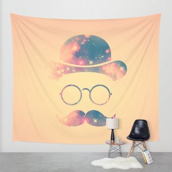Retro Face with Moustache & Glasses / Universe - Galaxy Hipster Wall Tapestry by Badbugs_art | Society6