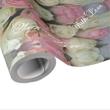 Pink White Roses Flower Pattern Bouquet Floral Wrapping Paper