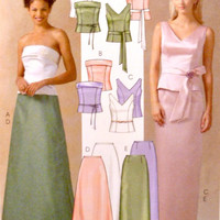Evening Dress Pattern Separates Two Piece Fitted Tops Straps or Strapless Flared Skirt McCalls M4710 Sewing Patterns Uncut Size 6 8 10 12