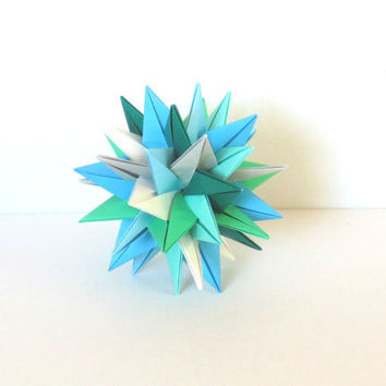 "Modular Origami Ball 4"", Christmas Ornament, Paper Sculpture, Spiky Geometric Decoration Blues & Greens"