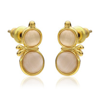 18K Gold Double Chamber Stud Earrings Made with Swarovksi Elements