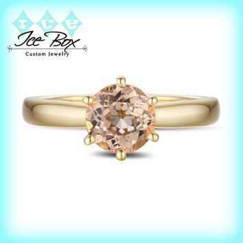 Morganite Engagement Ring 1.8ct Round Morganite Solitaire in 14k Yellow Gold Setting