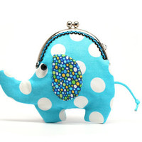 Little sky blue elephant clutch purse by misala on Etsy