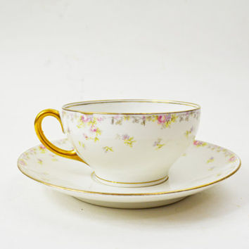 Limoges Tea Cup Set, French Tea Cup and Saucer, Bawo and Dotter Elite Works, Rosebuds and Floral, Pink and Gilt, Antique Porcelain Cup Set
