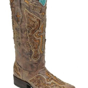 Corral Studded Cross & Wing Inlay Cowgirl Boots - Square Toe - Sheplers