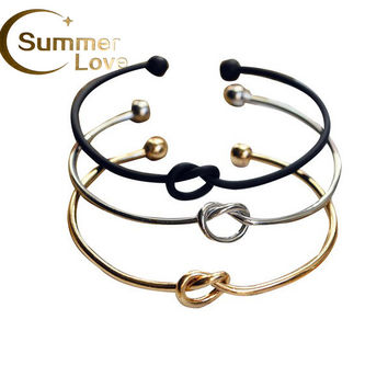 Hot Selling Simple Design Knot Bracelets For Women And Men Charm Love Knot Open Bracelet Bangles 3 Colors Cuffs Jewelry Gifts