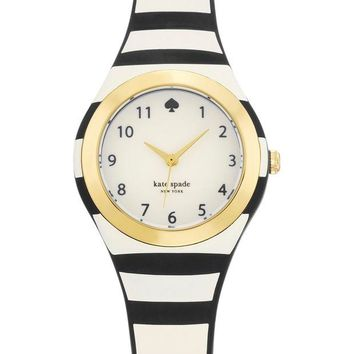 kate spade new york | women's black stripe rumsey watch