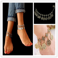 Fashion Bohemian Moon Lovers Tassel Coin Antique Gold/Silver Anklet Chain Bracelet Beach Jewelry = 1928880836