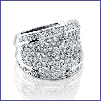 Gregorio 14K White Ladies Pave Setting Diamond Ring  R-6932