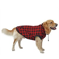 Large Dog Clothes Pet Sweater Red Blue Dog Grid Clothing Warm Removable Puppy Cute Hooded Coats Plaid Jackets Hoodies 6 Sizes