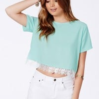 Missguided - Petrine Mint Eyelash Lace Trim Crop Top